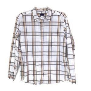 Patagonia Men's Plaid Cotton Long Sleeve Shirt Lg